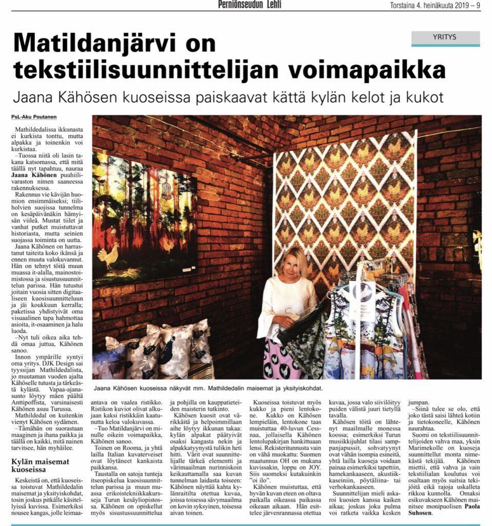 DJK Perniönseudun Lehdessä 4.7.19